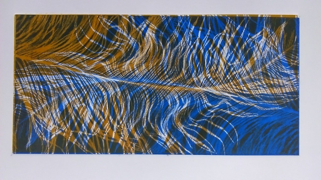 Ostrich feather - cobalt and raw sienna