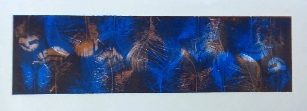 Random feather - cobalt & burnt umber